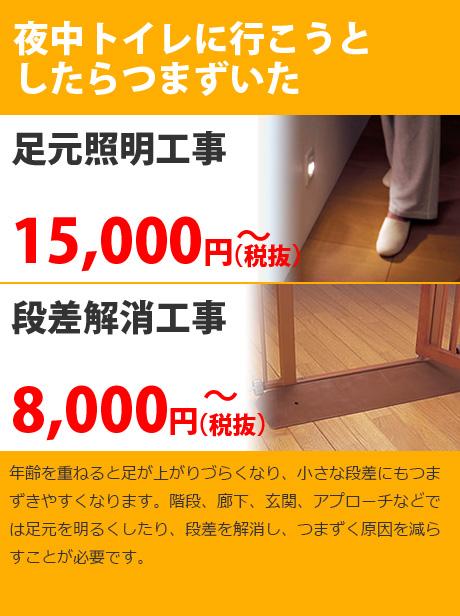 年齢を重ねると足が上がりづらくなり、小さな段差にもつまずきやすくなります。階段、廊下、玄関、アプローチなどでは足元を明るくしたり、段差を解消し、つまずく原因を減らすことが必要です。
