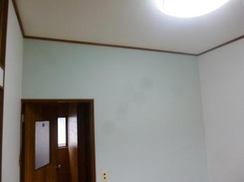 壁の一面のみ水色に♪ やわらかいアクセントになっています!