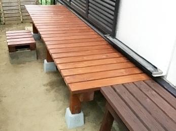 木製の手作り濡れ縁はかっこいいです♪